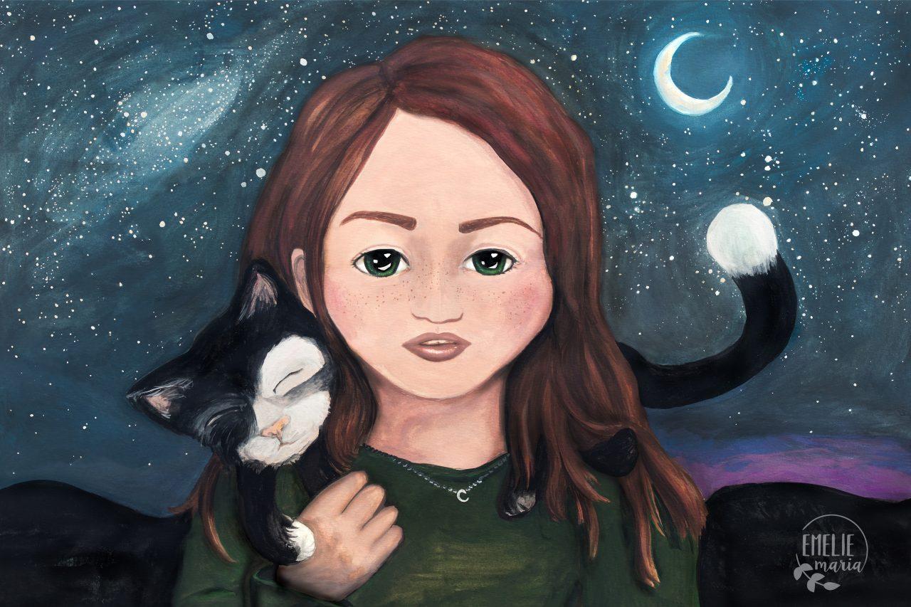 En bild på en flicka och en katt under en stjärnklar natthimmel.
